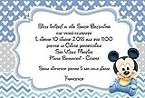 Biglietti Inviti battesimo personalizzati topolino baby azzurro - partecipazioni battesimo bimbo bimba set da 10 biglietti