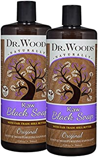 Dr. Woods Raw African Black Liquid Soap with Organic Shea Butter, 32 Ounce (Pack of 2)