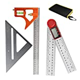 3 Packs Measuring Tool Set, 12' Adjustable Combination Set, 7' Aluminum Triangle Ruler Square and Digital Angle Finder Protractor with Zeroing and Locking Function