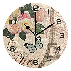 Dozili Romantic Paris Eiffel Tower Decorative Wooden Round Wall Clock Arabic Numerals Design Non Ticking Wall Clock Large for Bedrooms, Living Room, Bathroom