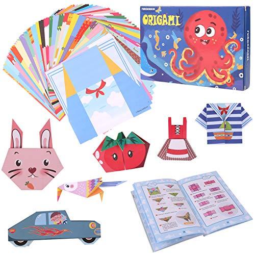 Gitua Papel de origami con libro de origami, 152 hojas, 72 patrones de colores, papel de origami Best Arts and Crafts, regalo para niños y niñas, 14 x 14 cm