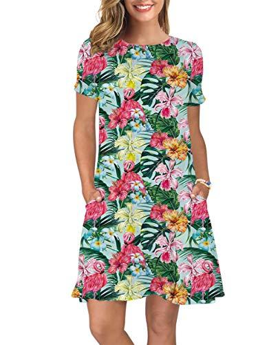 ALISISTER Women's Summer Floral Dresses Short Sleeve 90S Tunic T Shirt Swing Flamingo Dress Round Leaf Maxi Sundress Hawaiian Travel Aloha Clothing Red Medium