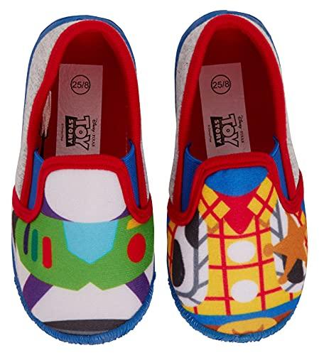 Disney Zapatillas de juguete para niños Buzz Woody Easy Fasten House Shoes Booties, gris, 24 EU