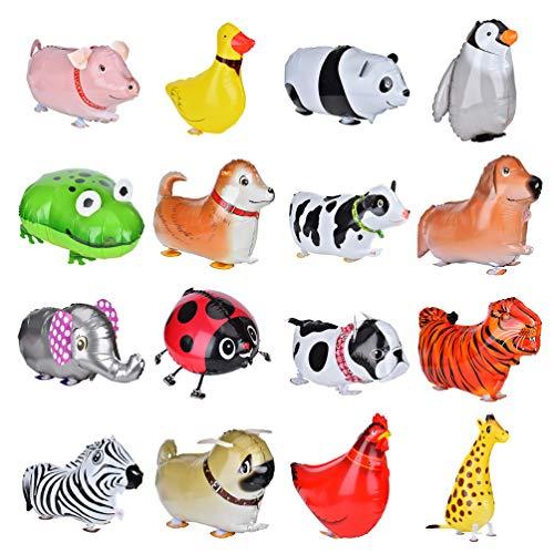 Queta 16 Piezas Caminar Animal Globos, Lindo Animal Mascota Globos de Aluminio para Niños, Cumpleaños Partido Baby Shower Decoración Regalo