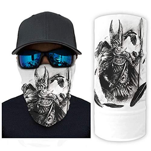 CCMugshop Bandanas para la cara, estilo vikingo, Oin, armadura, guerrero, dos cuervos impresos, talla única, color blanco