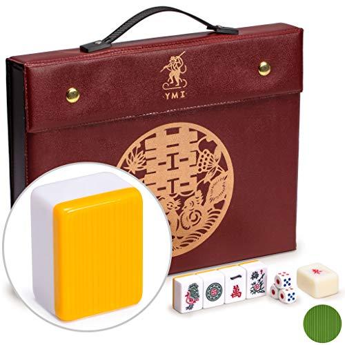 Yellow Mountain Imports Juego Profesional de Mahjong Chino - Doble Felicidad (Amarillo) - con 146 Fichas de Tamaño Medio, 3 Dados y un Indicador de Viento - para Jugar al Estilo Chino
