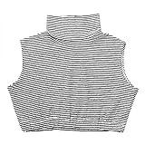 iEFiEL Mujer Collar Falso Desmontable Algodón Collar Cálida Extraíble Elegante Ropa Media Camisa Blusa Cuello para Mujer Damas Raya Blanca L