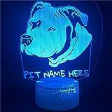 Cabeza De Perro Luz Nocturna Para Niños, Lámpara De Ilusión 3D 7 Colores Que Cambian Con Interruptor tactil, Cumpleaños Y Regalos Navideños Para Niños Niñas