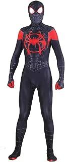 Halloween Audlt/Kids Superhero Spiderman Cosplay Costume Spider Verse Miles Morales Gwen Bodysuit (Kids-M) Black-red