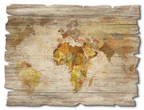 Artland Wandbild aus Holz Shabby Chic Holzbild rechteckig 40x30 cm Querformat Weltkarte Kontinente Welt Erde Karte Vintage T9NI