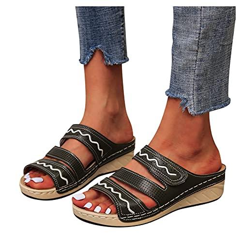 Briskorry Pantoffels dames sandalen slippers wighak plateau schoenen comfortabele orthopedische slippers slipvast zomer uithollen sandalen slingback open teen zomerschoenen
