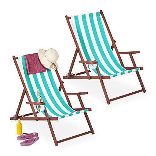 Relaxdays Liegestuhl klappbar 2er Set, Holz, Stoff, 3 Liegepositionen, Armlehnen, Getränkehalter, Strandstuhl, weiß/blau