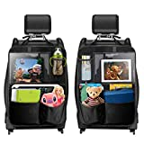 TECBOSS Car Backseat Organizer, Car Organizer Cover 5 Multi Storage Pockets, Seat Back Protectors with 12.9'' iPad Holder, Family Self-Driving Tour Car Accessories