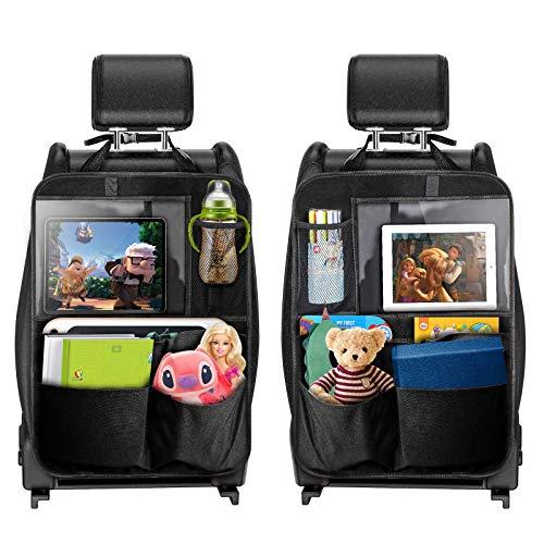 TECBOSS Auto Rückenlehnenschutz, 2 Stück Autositz Organizer für Trittschutz mit Rücksitz-Organizer, Multifunktionstaschen und 12.9 Zoll iPad-/Tablet-Fach