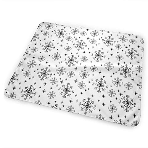Voxpkrs Snowflakes Christmas Holiday Winter Baby Crib Pee Changing Pad Mat Mattress Protector for Toddler Kids Infant Pets