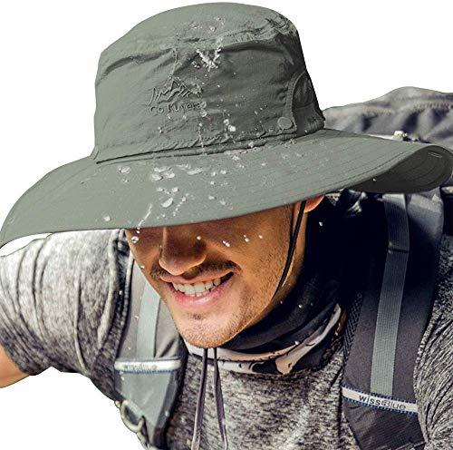 Cooltto Sombrero del Pescador,Gorro de Pesca,50+ UV protección Solar de Ancho Borde Sombrero-Rápido Seco Transpirable Plegable Impermeable Ajustable,para la Actividades al Aire Libre,Mujeres y Hombres