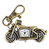 LZHLMCL Bolso Colgante Llavero Llavero Retro De Bronce Reloj De Bolsillo De Cuarzo Llaveros De Motocicleta Collar Colgante Joyería Para Estudiantes Reloj Regalos Para Hombres Mujeres Niños