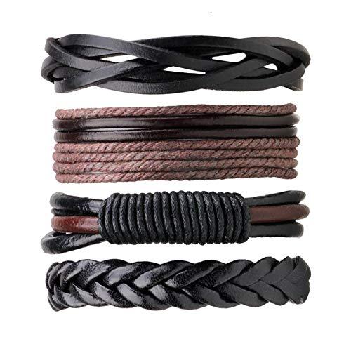 4 unids/set multicapa vintage DIY hombres pu cuero trenzado pulsera casual simple pulsera brazaletes joyería mejor regalo de cumpleaños