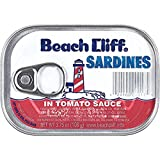 BEACH CLIFF Sardines in Tomato Sauce, 3.75 Ounce Cans (Case of 12), Wild Sardines, Canned Sardines, High Protein, Keto Food, Keto Snack, Gluten Free, Paleo Food, Canned Food