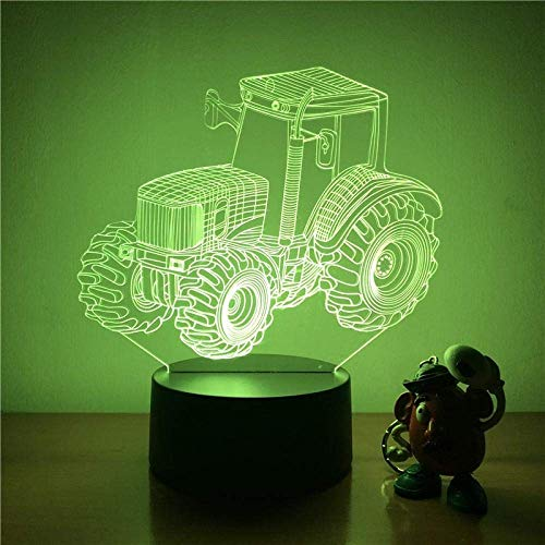 Luz Led 3D Luz De Noche Neumático Grande Tractor Agrícola Diagrama De Acción Pantalla Táctil De 7 Colores Luz Decorativa Ilusión Visual