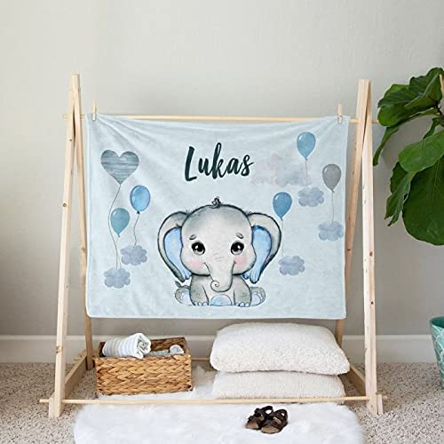 Personalized Elephant Blanket Manufacturer direct Branded goods delivery with Blankets Bla Name Baby