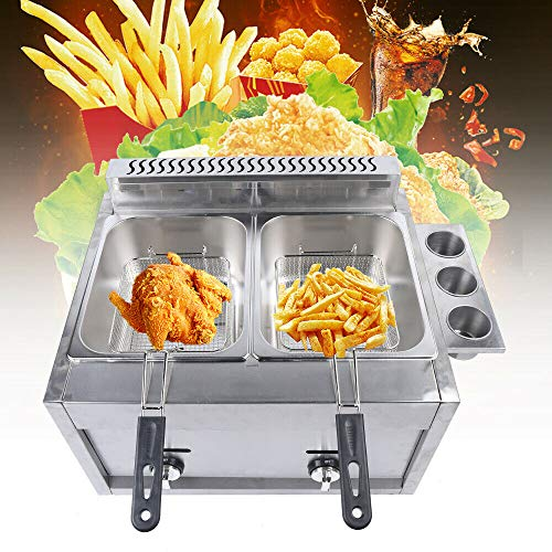 6L*2 Dual Tanks Gas Countertop Deep Fryer Commercial Stainless Steel Large Capacity Fryer Tabletop Restaurant kitchen Frying Machine with 2 Basket