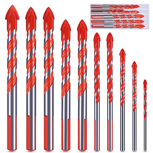 Juego de brocas, juego de brocas profesionales para azulejos, cemento, vidrio, ladrillo, plástico y madera (3, 4, 5, 6, 8, 8, 10, 12 mm), color naranja