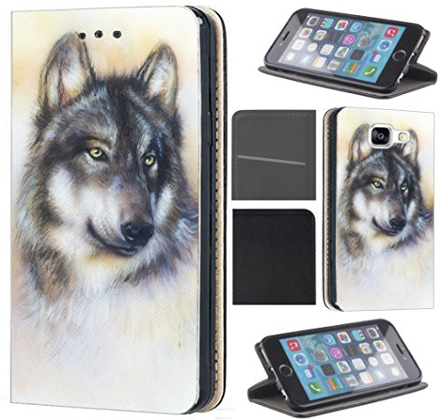 Samsung Galaxy J3 2017 J330 / Dous Hülle von CoverHeld Premium Flipcover Schutzhülle Flip Case Motiv (1244 Wolf Grau)