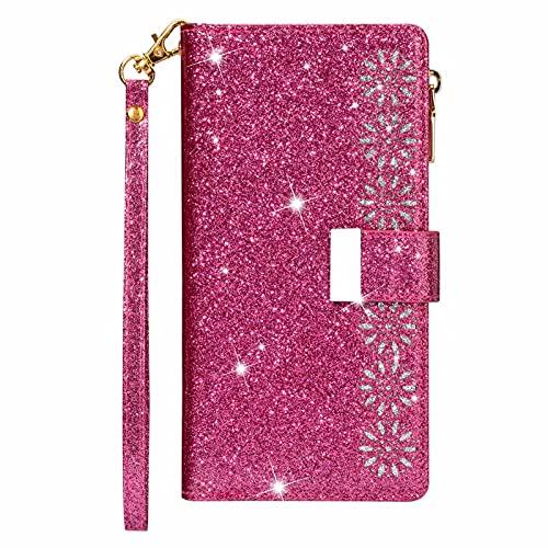 SCRENDY Funda para Xiaomi Redmi Note 10/10S (4G), Carcasa Billetera con Tapa Flip Case Mujer Cartera PU Cuero con Soporte/Ranura de Tarjeta Cubierta Libro Cover-Rosa roja