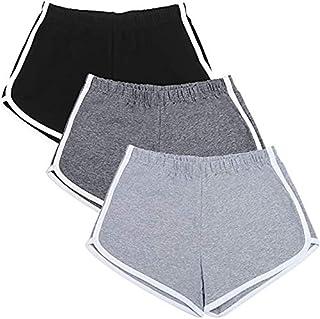 kit 3 shorts esportivos de algodão para corrida,ioga,dança,praia, bermuda de verão