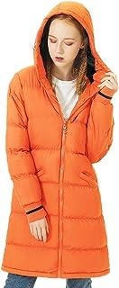 معطف منتفخ طويل للسيدات من SUNDAY ROSE معطف شتوي دافئ مبطن مع غطاء للرأس