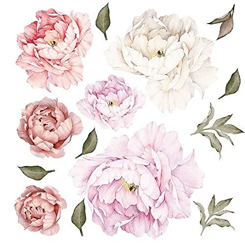 WandSticker4U - Adhesivo decorativo de pared de rosas I adhesivo de pared con flores plantas I murales de pared para salón, dormitorio habitación de los niños cocina muebles pegatinas