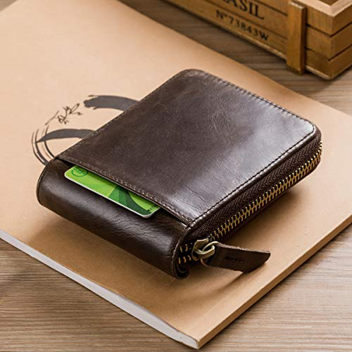 BULLCAPTAIN Genuine Leather Wallet for Men Large Capacity ID Window Card Case with Zip Coin Pocket QB-231 (Coffee)
