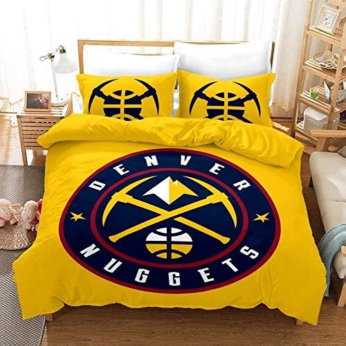 Copertura piumino a 3 pezzi con chiusura a cerniera, (1 copripiumino + 2 federe), super morbido 3D stampato NBA Denver Nuggets basket club copripiumino copertura biancheria da letto set per ventilator