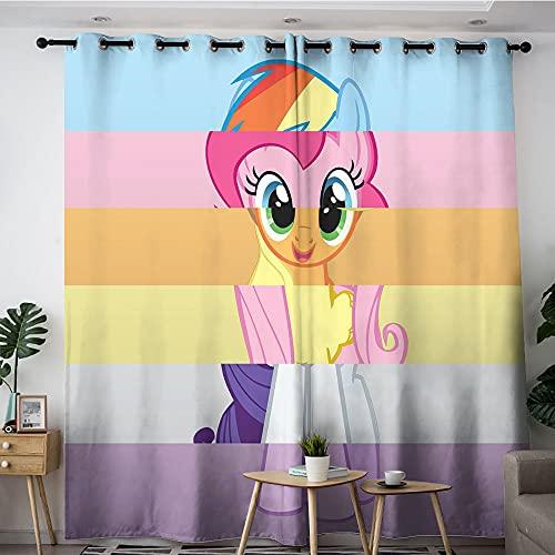 Cortinas opacas con protección solar de dibujos animados lindos miembros de My Little Pony se combinan para convertirse en una persona, dormitorio, guardería, sala de estar de 254 x 243 cm