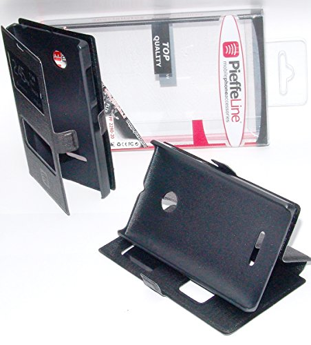 CUSTODIA IN ECO PELLE nera con cover protezione slim view antiurto per Nokia Lumia 532