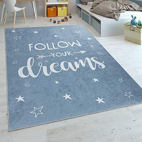 Alfombra Infantil, Tejido Plano para Habitación Infantil, con Frase Estampada Y Estrellas, Azul, tamaño:80x150 cm