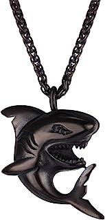 جواهرات U7 آویز کوسه جواهرات از جنس استنلس استیل / طلا / جواهر سیاه / 925 زنجیره نقره ای استرلینگ