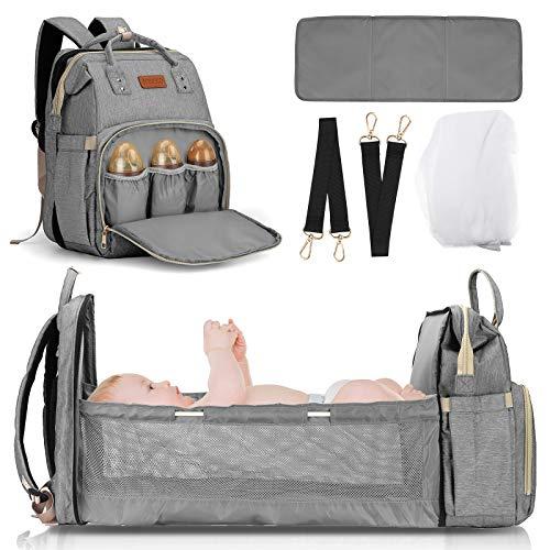 JOSEKO Zaino multifunzionale per la mamma, lettino da viaggio pieghevole per bambini, borsa per pannolini, zanzariera, grande capacità #grigio