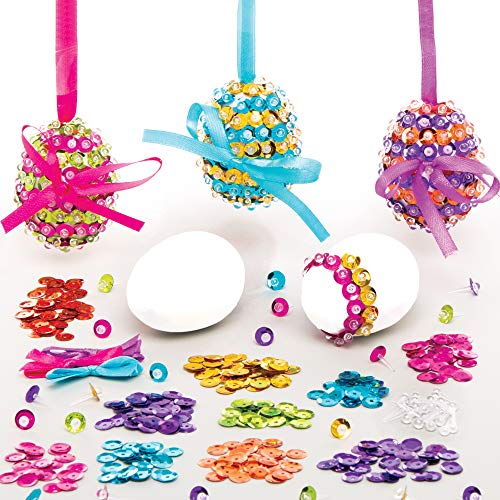 Baker Ross AT426 Easter Egg Sequin Kits - Pack of 3, Creative Art And Craft Supplies For Kids To Make And Decorate