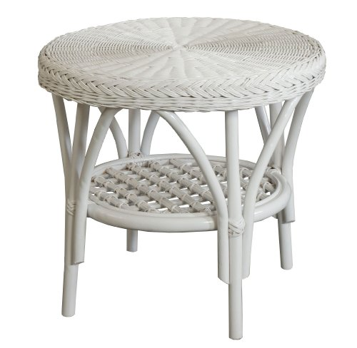 Table ronde en rotin-couleur : blanc-korb outlet