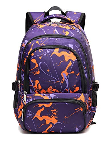 Kids Backpack for Teens Girls Boys Elementary School Bags Middle School Teenagers Bookbags (Purple Camo)
