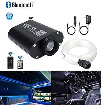 AZIMOM Bluetooth/APP 16W RGBW Led Fiber Optic Light Star Ceiling Kits Sensor Music Mode Remote Control Car Use Home Headliner Lighting Decoration 450pcs 0.03in 6.5ft