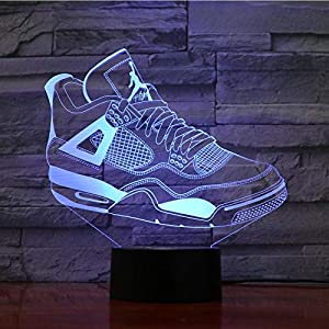 Night Light 7 Colorful USB Sneaker Shoes 3D Illusion Lamp Kids Bedroom Sleep Light Led Table Lamp Child Night Lights Christmas Gifts