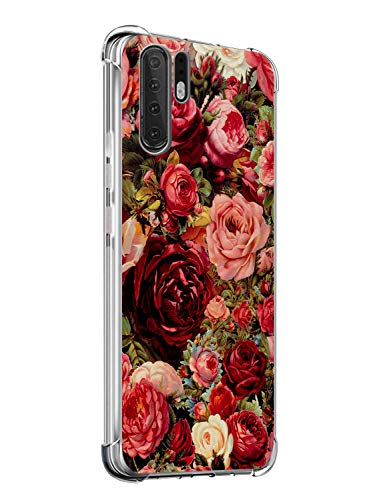 Suhctup Coque Compatible avec Huawei Honor 20 Pro,Étui Houssee de Transparent Motif Mignon [Antichoc Coussin d'air] Crystal Clear Souple Silicone TPU Bumper Protection de Cover Case,Roses Rouges