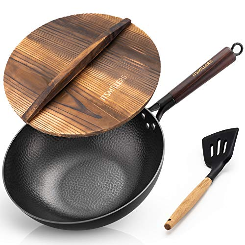 ITSMILLERS Traditional Carbon Steel 12.5 Inch Hand Hammered Iron Wok and Stir Fry Pan with Lid and Spatula