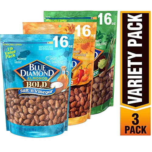 Blue Diamond Almonds Bold Favorites Variety Pack - Salt 'n Vinegar, Habanero BBQ, & Wasabi & Soy Sauce, Bold Variety Pack, 16 Ounce (Pack of 3)