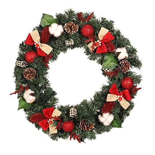 R1vceixowwi Corona de Navidad de 30 cm/40 cm/50 cm, corona para puerta, corona de pared, corona de Navidad decorada, piñas de abeto y ceiba de color rojo y verde