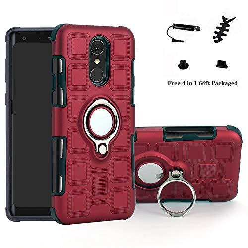 LFDZ LG Q7 Hülle, 360 Rotation Verstellbarer Ring Grip Stand,Ultra Slim Fit TPU Schutzhülle für LG Q7 / Q7 Plus / Q7 Alpha Smartphone(Nicht für LG Q6),Rot