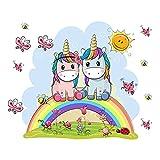 Kibi Pegatinas de pared con unicornio, unicornio, arcoíris y unicornio, pegatinas de pared para dormitorio de niña o dormitorio infantil